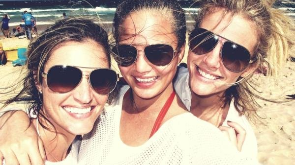 Brooklyn Decker hit the beach in Sydney with Erin Andrews and Chrissy Teigen.
