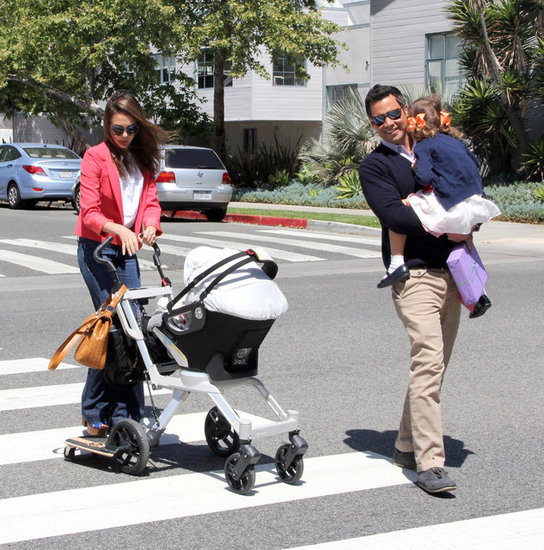 Jessica Alba pushed Haven Warren in a stroller as Cash Warren  carried Honor across the street.