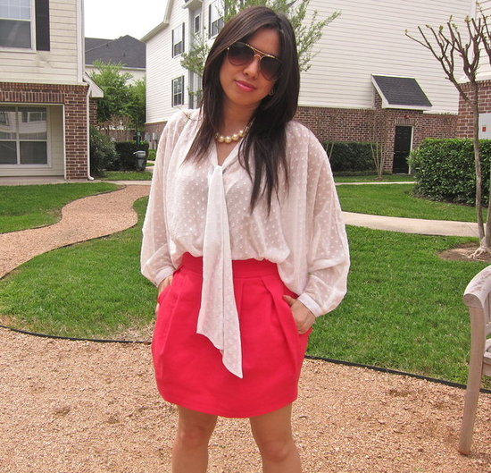 HM polka dot blouse and neon pink Zara skirt