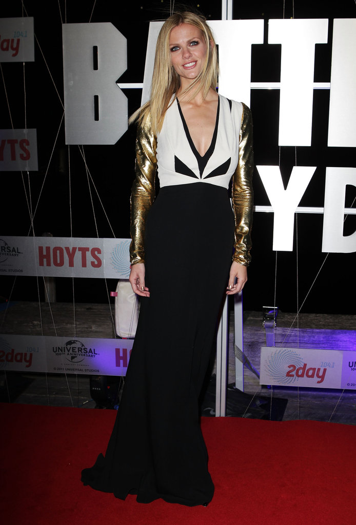 Brooklyn Decker wore a black-and-white dress with gold sleeves to the Battleship premiere in Sydney.