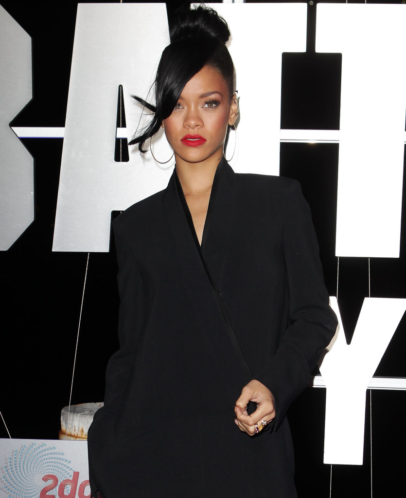 Rihanna gave a serious look at the Battleship premiere in Sydney.