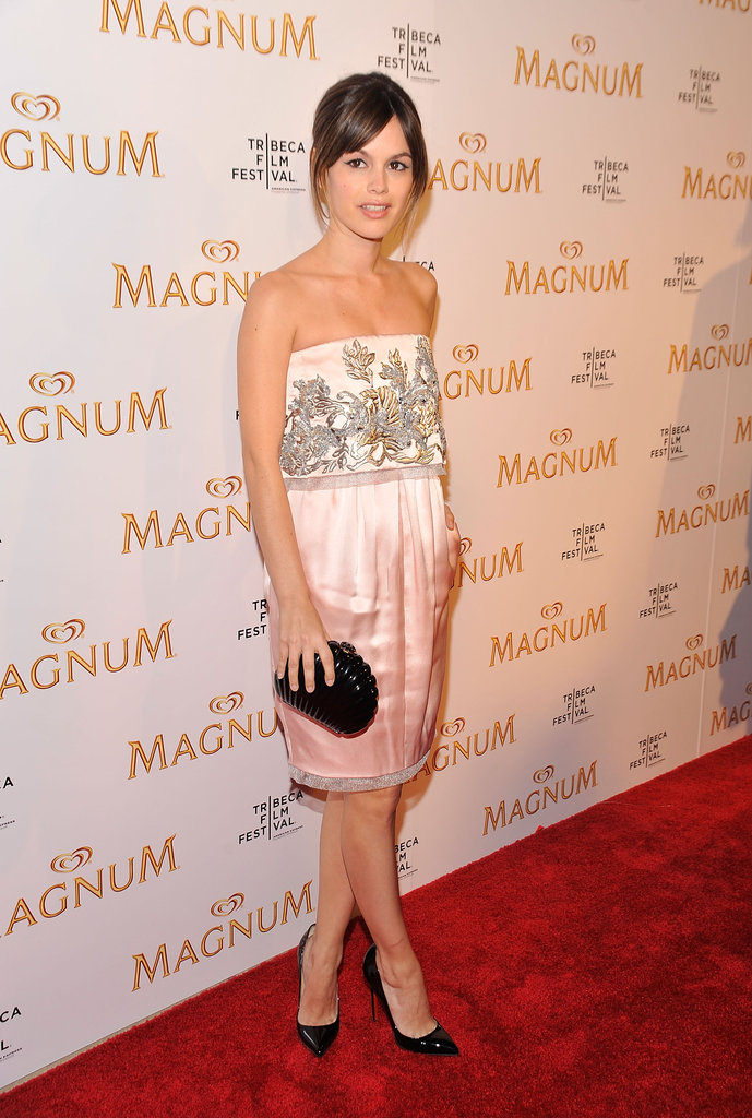 Rachel Bilson wore a studded pink silk dress to the debut of her original film series with Karl Lagerfeld at the 10th annual Tribeca Film Festival in April 2011.