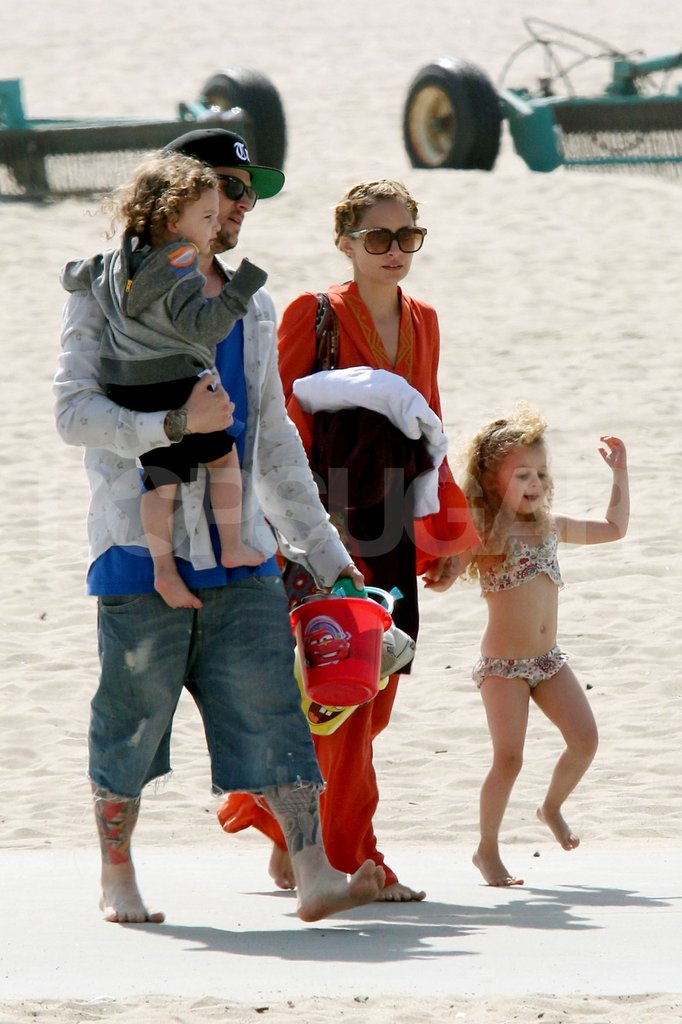 Nicole Richie and Joel Madden had a family day at the beach with Sparrow and Harlow in Malibu for Easter.