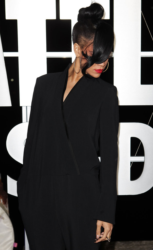 Rihanna wore her hair in a high bun to the Battleship premiere in Sydney.
