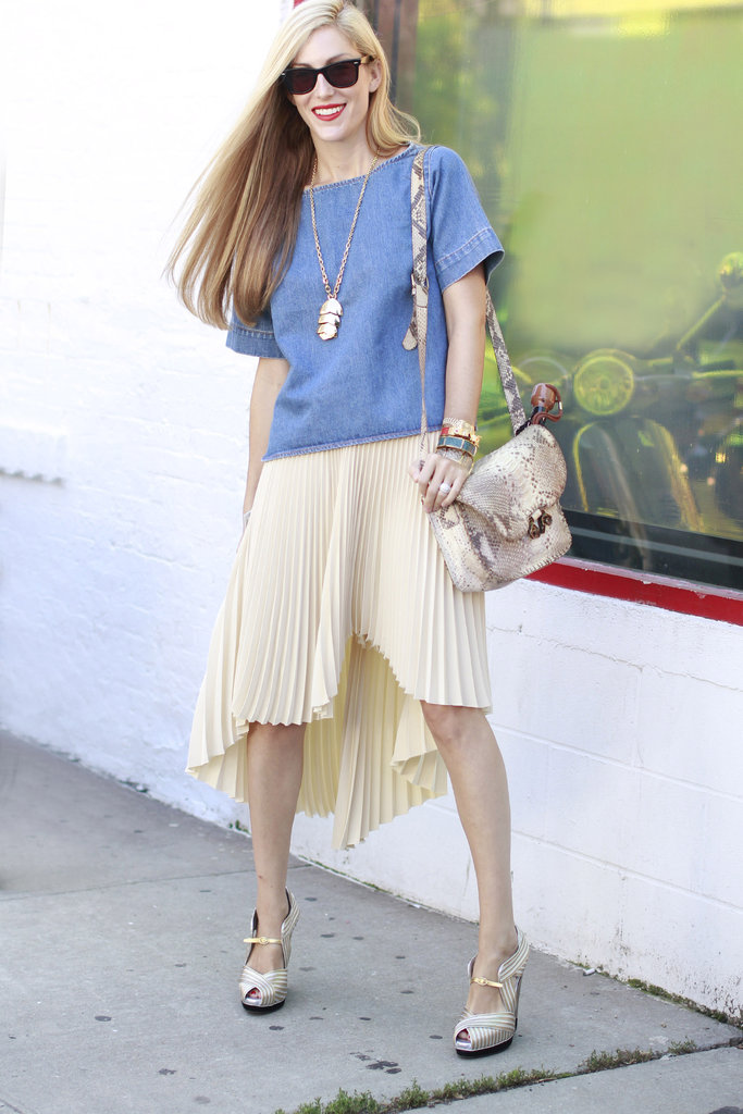 Edge up a ladylike pleated version with a denim top and exotic print accessories.