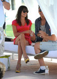 Lea Michele got a seat in the shade at Lacoste's pool party.