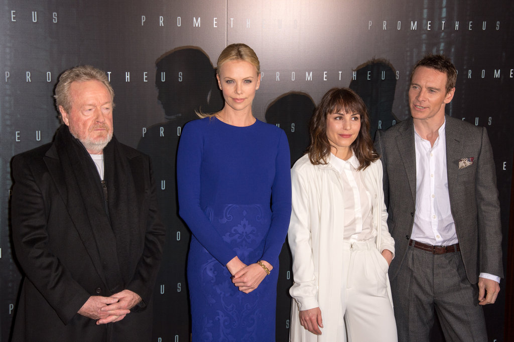 Ridley Scott, Charlize Theron, Noomi Rapace, and Michael Fassbender posed together at the Prometheus premiere in Paris.