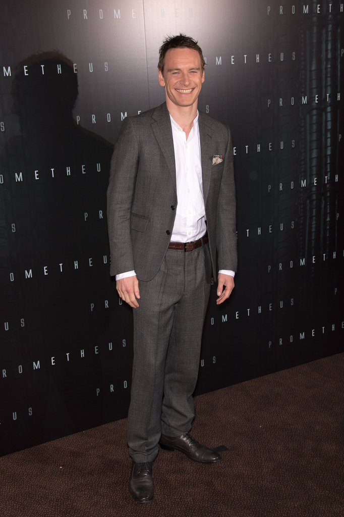 Michael Fassbender wore a suit to the Prometheus premiere in Paris.
