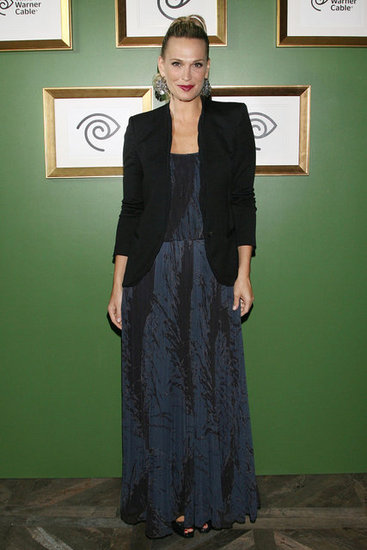 Molly's printed blue maxi got an extra dose of chic via a black blazer.
