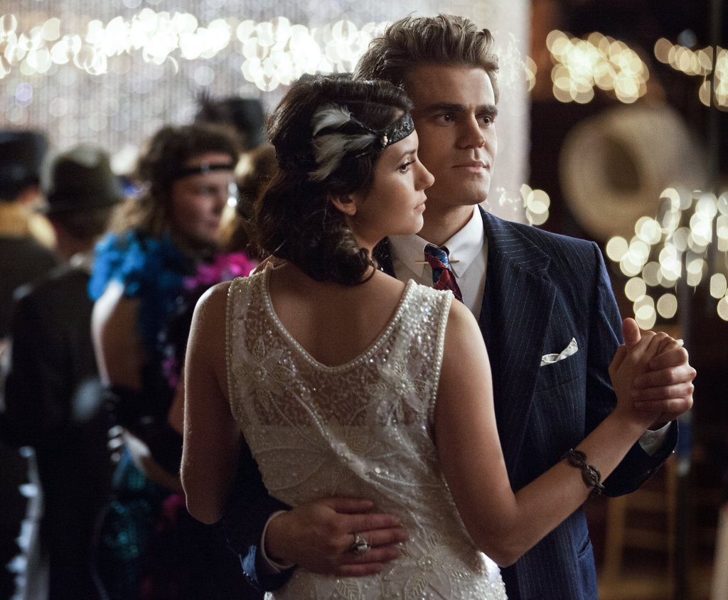 Paul Wesley as Stefan and Nina Dobrev as Elena on The Vampire Diaries.
