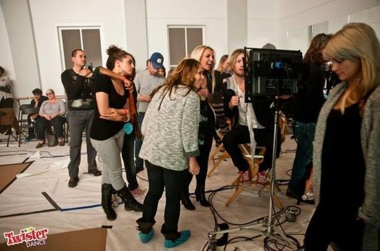 Britney Spears behind the scenes at her Twister Dance shoot.