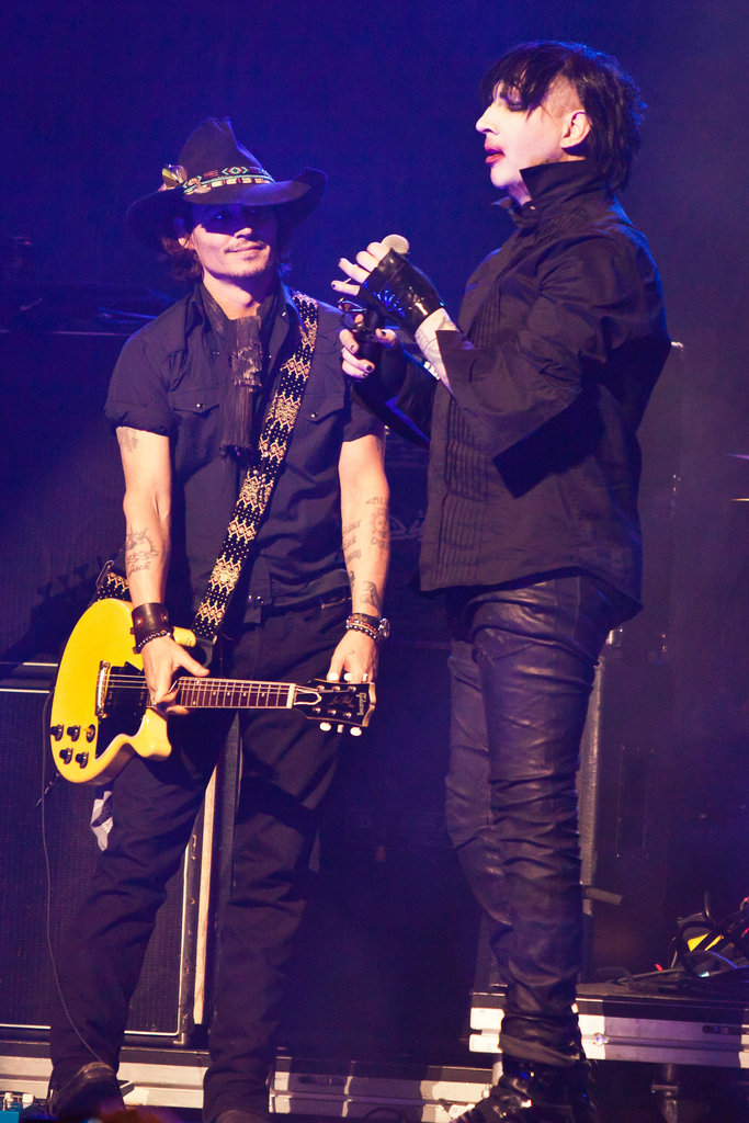 Johnny Depp on stage with Marilyn Manson at the Revolver Golden God Awards in LA.