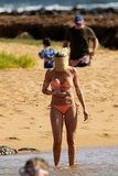 Cameron Diaz showed off her bikini body in a bright orange bikini while vacationing with family in Hawaii.