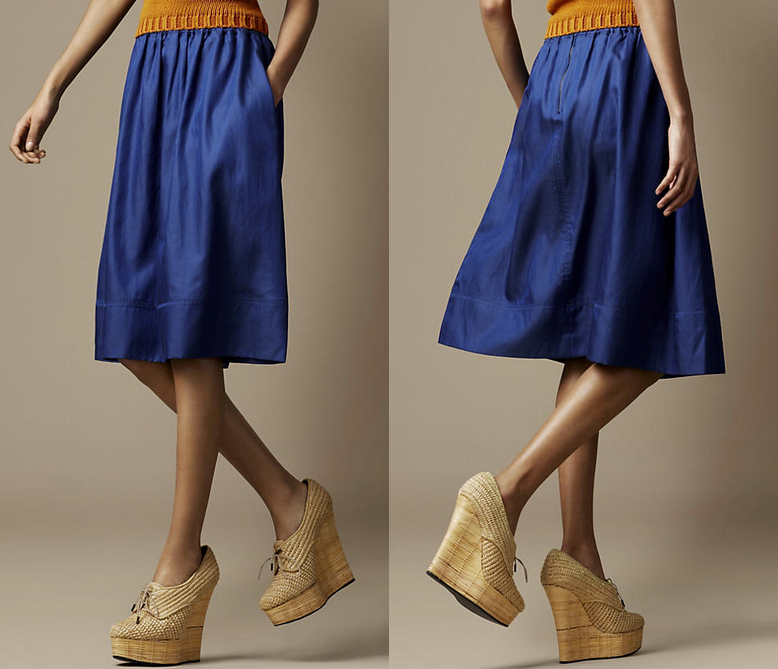Show off this splendid cobalt blue skirt with woven platforms and mustard sweater.  Burberry Silk Blend Pleated Skirt ($395)