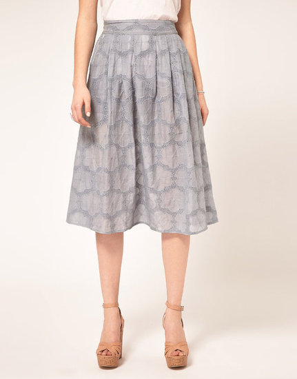 The floral broderie gives a romantic, charming quality to the soft, feminine design.  ASOS Lady Circle Skirt in Floral Broderie ($82)