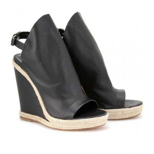 mytheresa.com - Balenciaga - GLOVE ESPADRILLE DETAILED LEATHER WEDGES - Luxury Fashion for Women / Designer clothing, shoes, bag