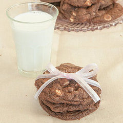 Triple Chocolate Chunk Macadamia Cookies