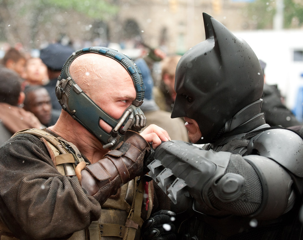 Tom Hardy and Christian Bale in The Dark Knight Rises. Photo courtesy of Warner Bros.