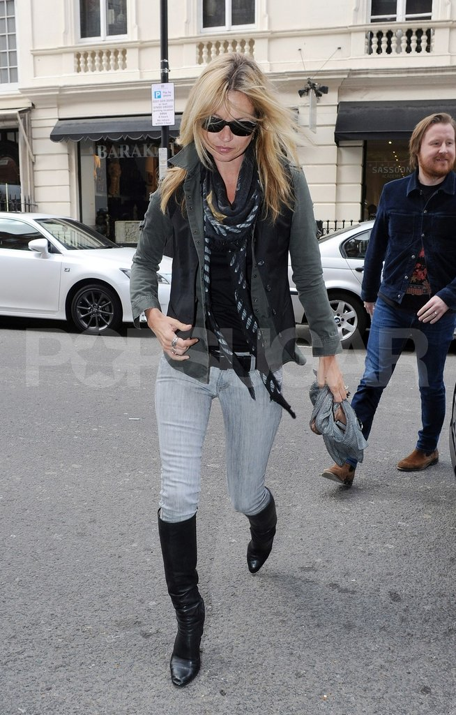 Kate Moss ran errands with a friend.