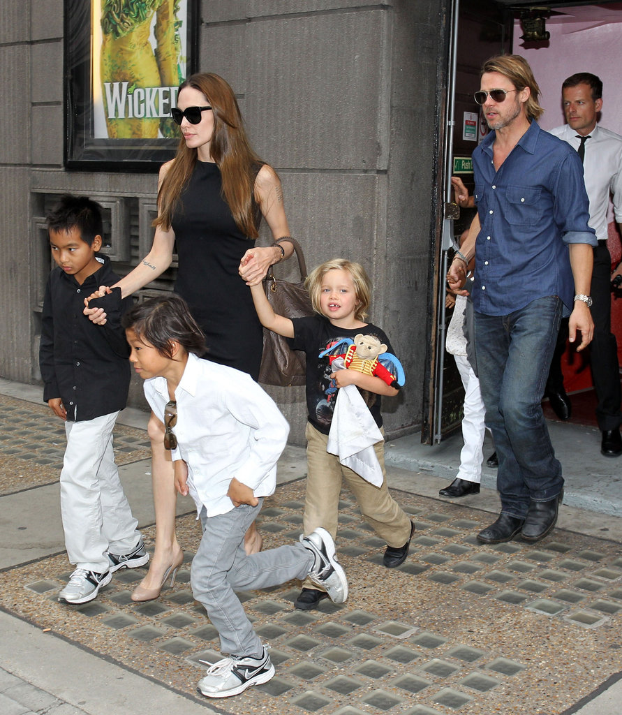 Brad Pitt and Angelina Jolie took their oldest kids to see a play in London in August 2011.