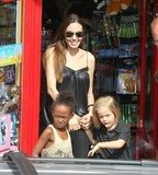 While in London in July 2011, Angelina Jolie shopped with Zahara and Shiloh.