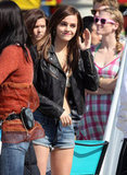 Emma Watson wore short cutoff denim shorts on the set of The Bling Ring in Venice.