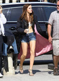 Emma Watson showed off her abs on the set of The Bling Ring in Venice.
