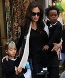 Maddox and Zahara stuck close to Angelina Jolie while out in NYC in October 2008.
