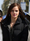 Emma Watson wore a puffy jacket while on the set of The Bling Ring in Venice.