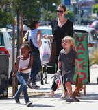 Angelina Jolie shopped with Zahara and Shiloh while in Hollywood in July 2011.