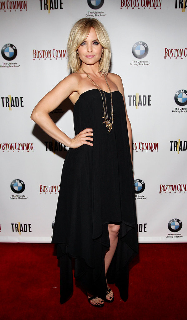 Mena Suvari shone in an asymmetrical-hem LBD for an event in Boston.