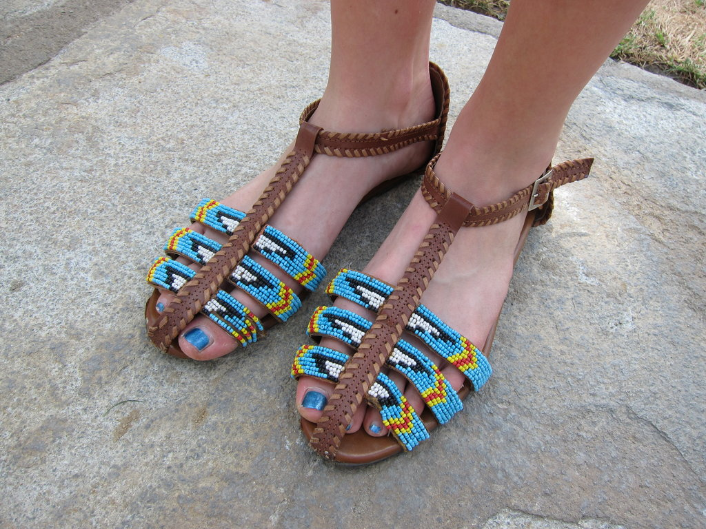 Functional and fashionable footwear with attention-grabbing tribal detail.