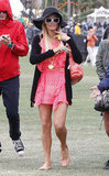 Paris Hilton wore a hot pink dress for the first day of the festival, when she watched Afrojack perform.