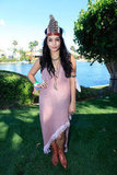 Vanessa Hudgens sported her headdress during a day out at the Lacoste party.