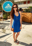 Nina Dobrev sported a breezy blue racerback at Burton's pool party.