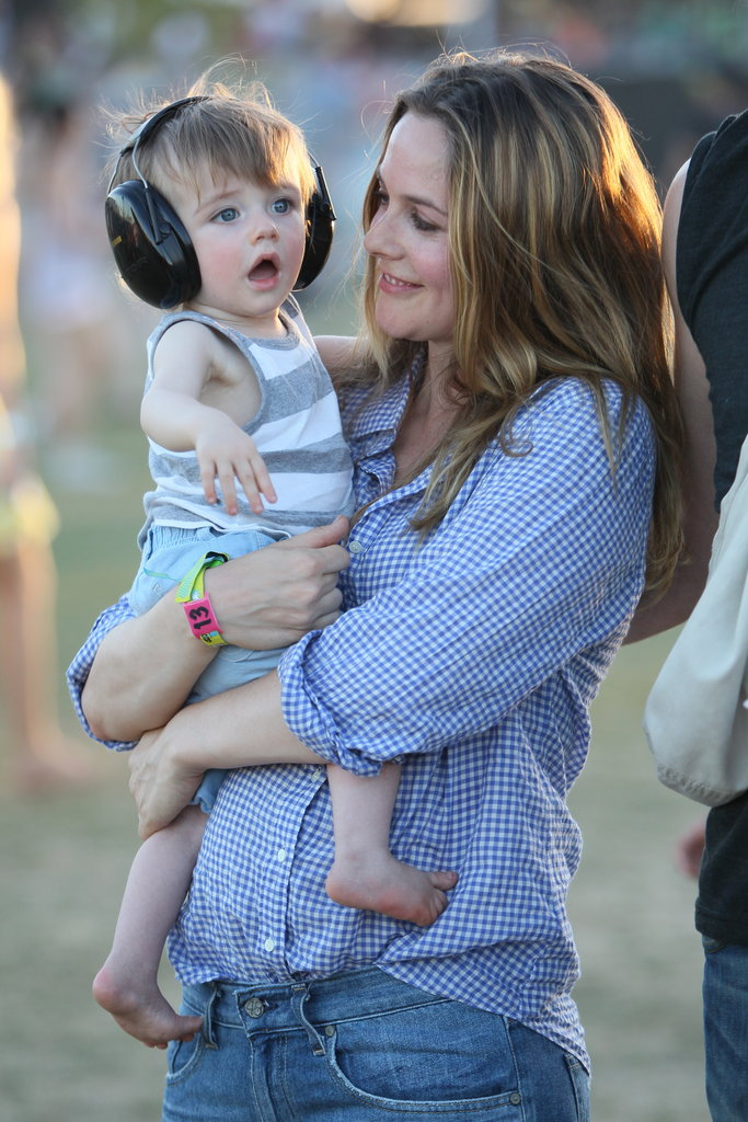 Alicia Silverstone put earphones on Bear as she enjoyed the music of Coachella's second weekend.