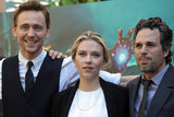 Scarlett Johansson, Mark Ruffalo, and Tom Hiddleston took a photo.