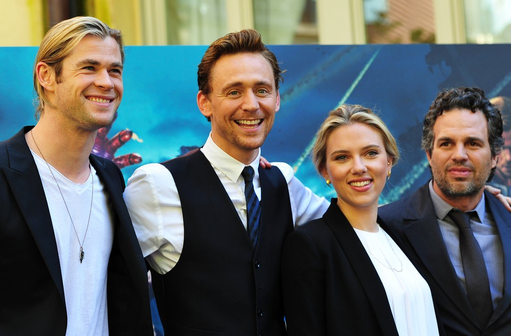 Scarlett Johansson, Mark Ruffalo, Chris Hemsworth, and Tom Hiddleston smiled for photographers.