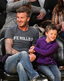 David Beckham enjoyed time with son Cruz Beckham sitting together at the Lakers game in LA.