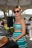Brie Larson showed off her DJ skills at the Lacoste pool party Sunday.
