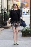 Emma Stone took a stroll around NYC in floral printed shorts.