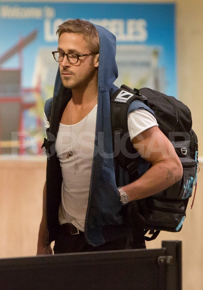 Ryan Gosling wore glasses at LAX.