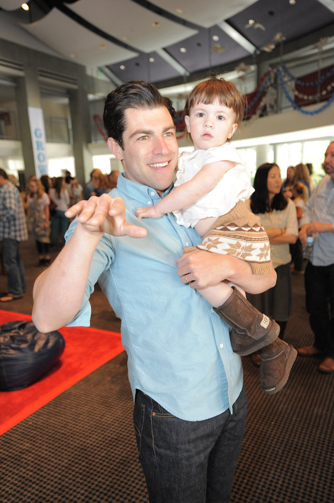 Max Greenfield held his adorable daughter at the event.