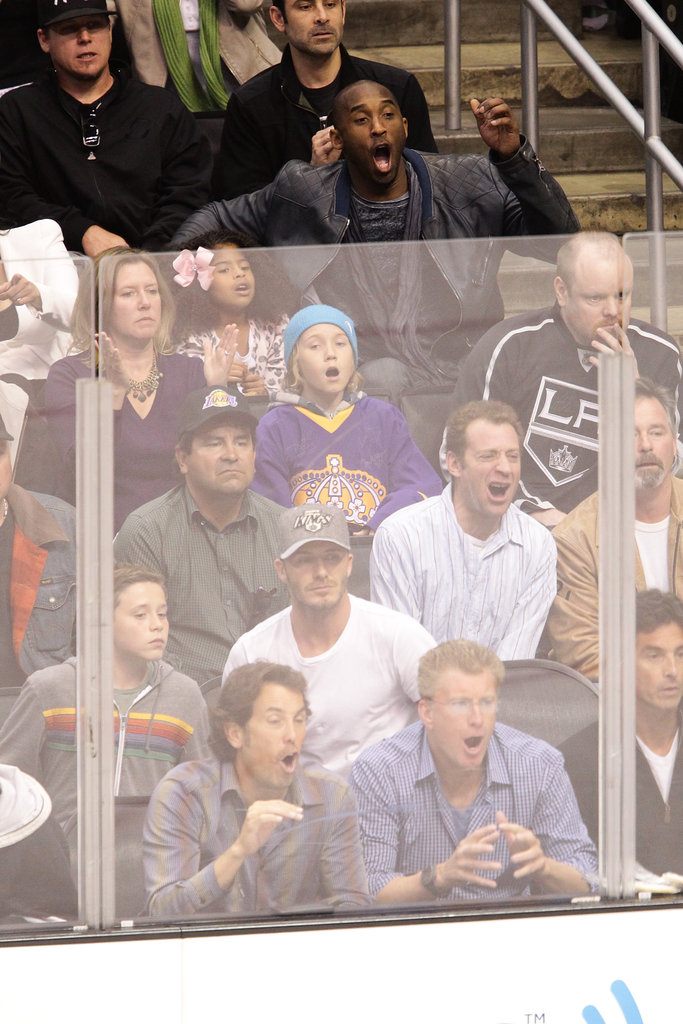 David Beckham and son Brooklyn Beckham were spectators at the playoff hockey game in LA.