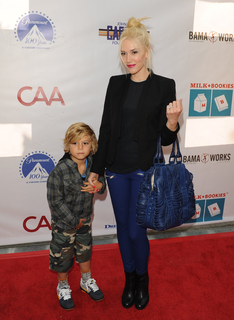 Gwen Stefani walked the carpet with Kingston by her side at the Milk and Bookies event in Los Angeles.