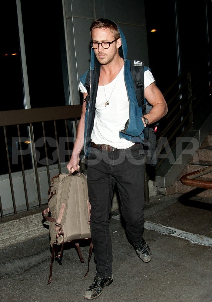 Ryan Gosling carried his backpack at LAX.