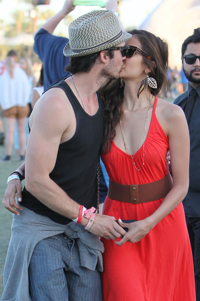 Nina Dobrev and Ian Somerhalder kissed during the final day of the festival.