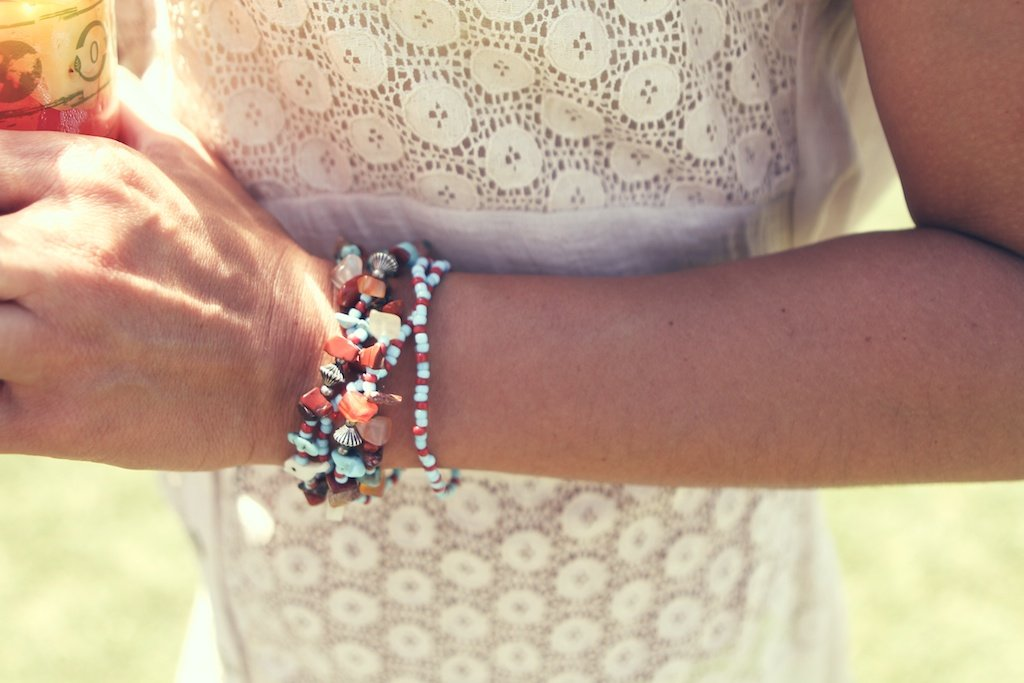 A delicate bouquet of bracelets.