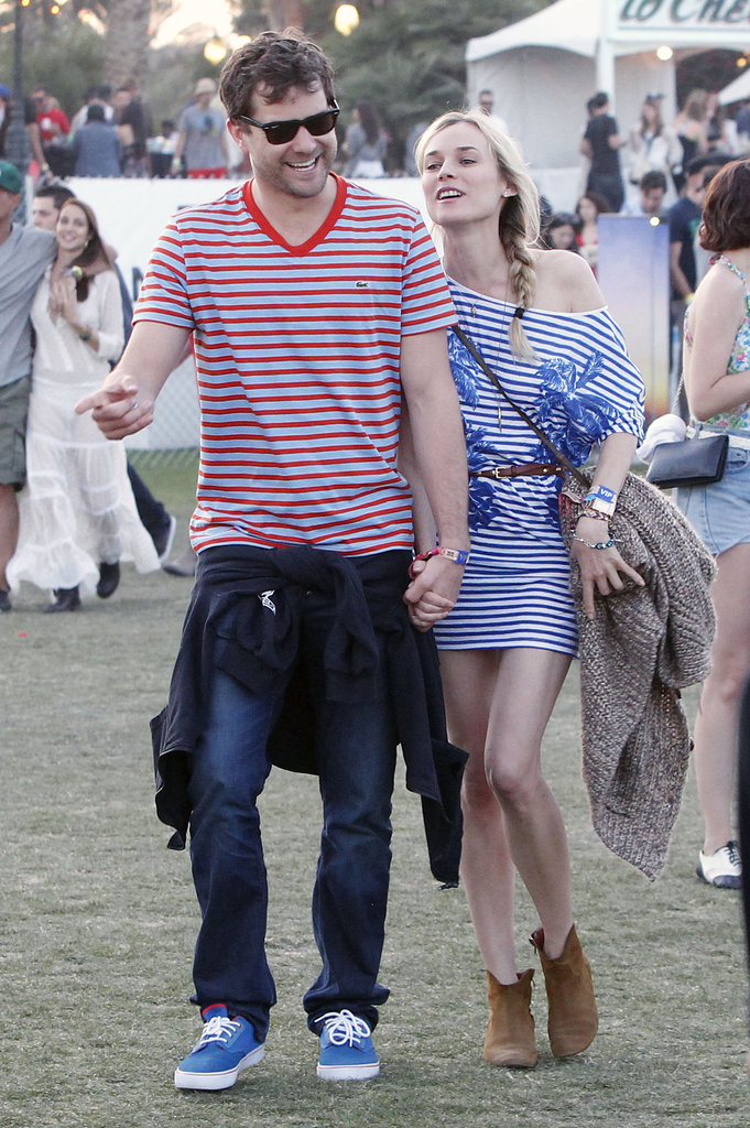 Joshua Jackson and Diane Kruger showed off his and hers stripes while walking the fairgrounds.