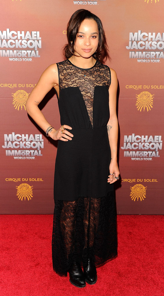 Zoe Kravitz went for a more gothic look in her long black sheer lace dress.
